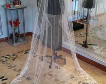 Ivory Chapel Length Drop Veil with Re-embroidered Lace Edge