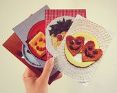 Food Face Set of 4 Postcards // Photograph // Funny // Food // Toast // Egg // Cheese // Note // Cards