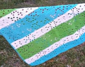 Carseat Cover - Picnic Blanket - Beach Blanket - Crochet Summer Blanket - Tummy Time - Nursery Rug - Swaddle Blankets - Receiving Blanket
