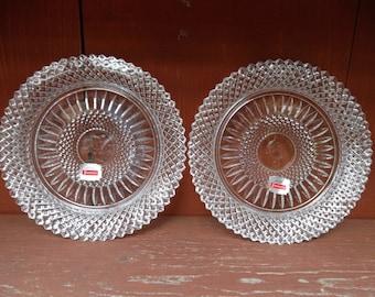 1978 Avon Fostoria American Lead Crystal  The Doorknocker and The Great Oak Award Plates