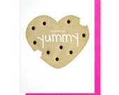 Cute Foodie Cookie Letterpress You're So Yummy Love Valentine Card