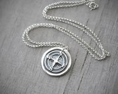 Wax Seal Silver Compass Rose Necklace -  Compass Necklace -  Fine Silver Compass Pendant - Handcrafted Artisan Jewelry