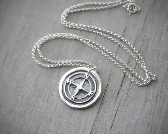 Scottish thistle necklace sterling silver chain 999 wax seal silver compass rose necklace compass necklace fine silver compass pendant handcrafted aloadofball Choice Image