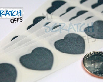 Scratch Off Stickers 50 Silver 1 inch Heart scratch-off labels Plain stickers for DIY games and promotions