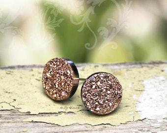 Bronze Gold Glitter Stud Earrings, Faux Druzy Post Earrings, 12mm, Titanium or Stainless Steel Posts