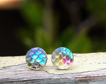 Iridescent Mermaid Scale Studs on Titanium or Stainless Steel Posts, Shimmer Earrings, 10mm, Clear Rainbow Dragon Scale Studs