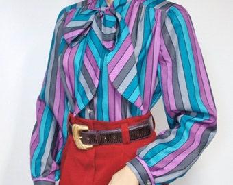 Blouse Vintage Secretary Bow Blouse Striped Women's 1980's Long Sleeve Office Wear Top Size 10