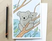 Koala Bear, new baby card, new mom card, baby animal illustration