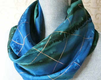 Silk Scarf Hand Dyed in Forest Green and Midnight Blue with Gold Accent