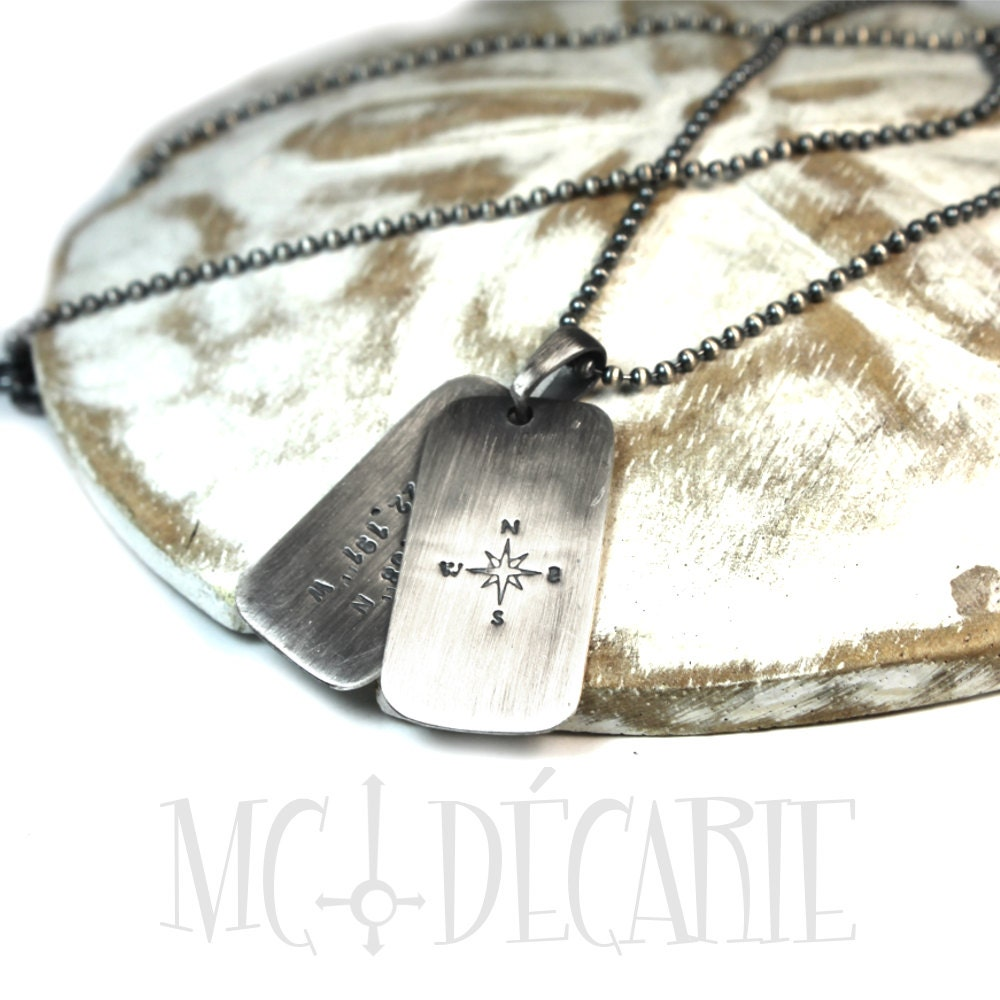 2 personalized dog tags necklace two army id tag with by. Black Bedroom Furniture Sets. Home Design Ideas