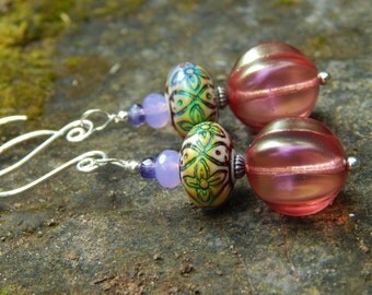 Rose of Many Color Mood Earrings - Color-Changing Mood Beads, Czech Glass & Handmade Sterling Silver Ear Wires / Support Organ Donation