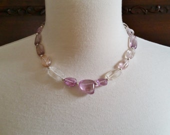 Stunning Kunzite Necklace One of a Kind Spodumene Smooth Kunzite Nugget Gemstone Necklace