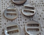 Vintage Buckles Round Mother of Pearl Gray 5 Pieces