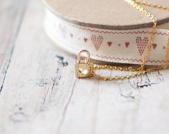 SALE -50% OFF. Gold Padlock Necklace. Lock Pendant Necklace. Gold Lock Necklace. Heart Lock Necklace.