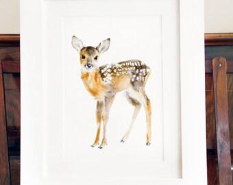 Deer Print Of Watercolor Painting, Giclee Animal Print
