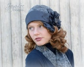 Deco Cloche Hat / 1920's Style / Linen and Lace / Slate Gray