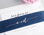 Navy Blue Wedding Invitations - Unique Calligraphy Font - Crosshatch, Romantic Wedding Invite - Flowing Script Wedding Invitation