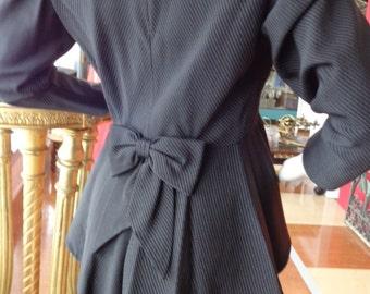 Vintage Black Orsina of Paris 40's style Viscose Peplum Skirt Suit