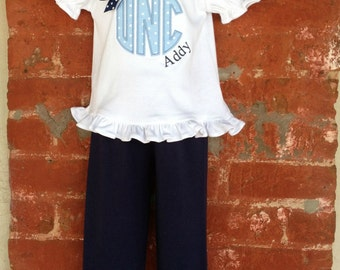Team Spirit UNC  Outfit Ruffled Hem Puffy Sleeve T-Shirt and Monag Pants with Bow