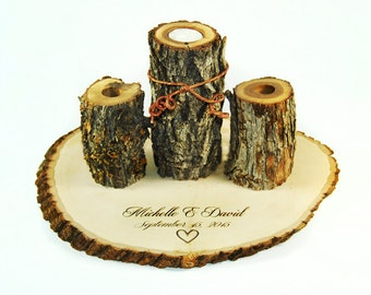 Unity Candle Set with heart and personalized engraving and charm