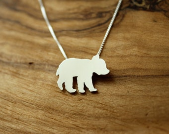 Bear Cub necklace, tiny sterling silver hand cut pendant with heart