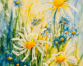 Daisies and little blue flowers in sunlit grasses Yellow green - sunny flower art - art gift - ORIGINAL watercolour by CheyAnne Sexton 9x6