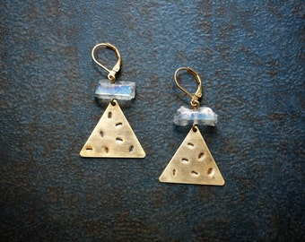 Brass Stamped Geometric Triangle Earrings with Pale Blue Titanium Treated Raw Quartz