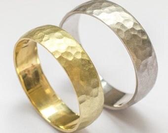Wedding band set women mens wedding band gold wedding ring hammered 6mm matte yellow and white gold