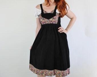 SALE - Vintage 70s Black Floral Corduroy Boho Folk Festival Jumper Dress