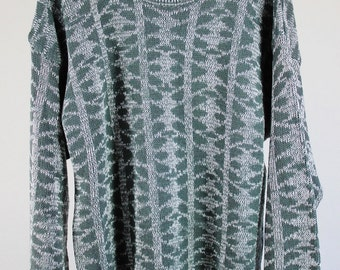 Mens Sweater / Pullover Sweater /  Tribal Print Sweater / Spring Sweater / Vintage / Size Large / GOGOVINTAGE