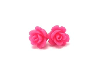 Mini Fuchsia Rose Earrings- Surgical Steel or Titanium Post Earrings- 9mmBlack Friday Sale 20% Off
