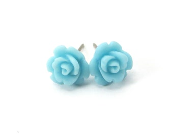 Mini Baby Blue Rose Studs- Surgical Steel or Titanium Post Earrings- Matte Finish- 9mmBlack Friday Sale 20% Off