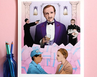 The Grand Budapest Hotel / 11x14 Illustration Print / Wes Anderson Print, Movie Poster Art, Grand Budapest Poster