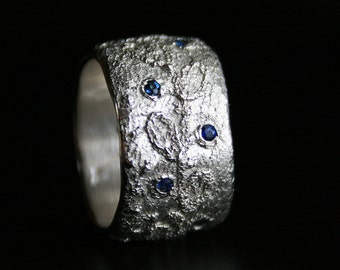 sterling silver lace ring set with brilliant cut natural sapphires - size 8, OOAK