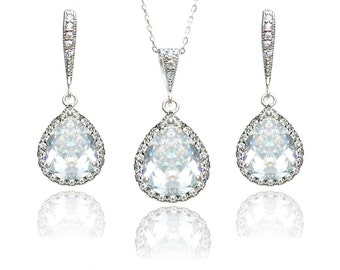 Wedding Jewelry Set Bridal Earring and Necklace Set Bridesmaid Jewellery Teardrop Necklace Earrings Cubic Zirconia Sterling Silver Crystal
