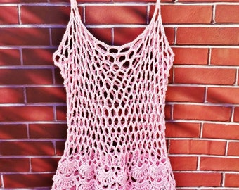 PINK Tank Top Camisole Plus Size 1X - 2X Lacey Crochet Cover Up Handmade SALE