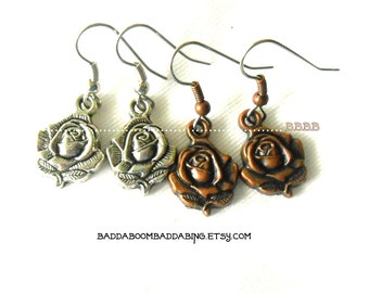 Antiqued Rose Earrings Silver or Copper  Surgical Steel French Hooks