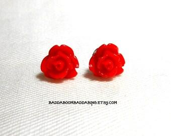 6mm Red Rose Petal Earrings Post Earrings Stud Earrings Surgical Steel Posts