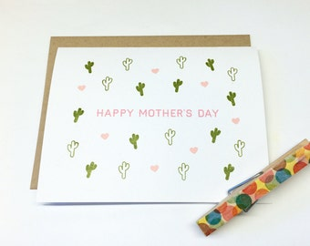 Cactus Mother's Day Card (Gocco printed)
