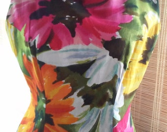 70s ALICE of CALIFORNIA--Botanical Print Wiggle Dress--Polished Cotton--Size 10