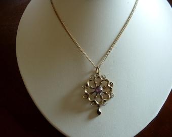 Vintage Amethyst Purple Crystal Filigree Drop Pendant Necklace Plated Beautiful Hand Work Elegant