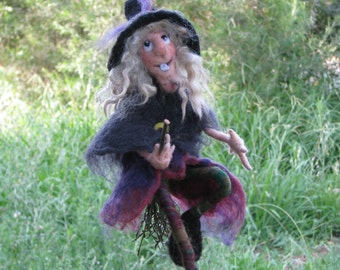 Halloween witch on broomstick Needle felted art doll Halloween mobile