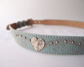 80s Western Belt. / Sage Green Leather with silver heart conchos ...fits 29-32