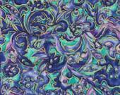 Purple Gold Paisley Swirls, Quilting Cotton Print Fabric, Hi Fashion, Blue, Turquoise, half yard, B3