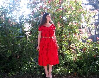 vintage dress Muumuu cotton Bright red guitars drums fish 50s Luau dress