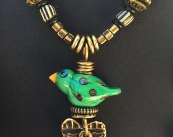 Artisan Necklace #10...Glass bird/Bronze heart