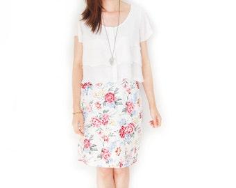 Vintage Pastel Floral Bouquet Rink Roses Skirt