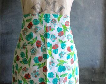 Vintage Handmade 1940-1950's Floral Cotton Floursack Apron, Kitchen Apron, Cotton Apron, Old Apron, Feedsack, Floral Apron
