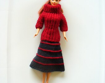 Knitted Barbie turtleneck and midi skirt