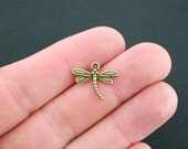 12 Dragonfly Charms Antique Bronze Tone - BC869